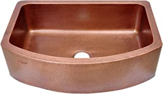 Coppersmith Creations 33-inch Copper Kitchen Sink D Shape Hammered Front Apron