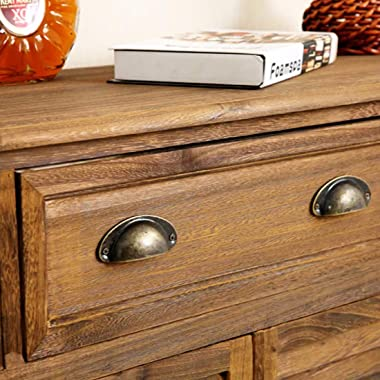 Bitray 10PCS Antique Seashell-Shaped Metal Drawer Pulls Handles - Vintage Kitchen Cabinets Metal Cupboard Furniture Wardrobe