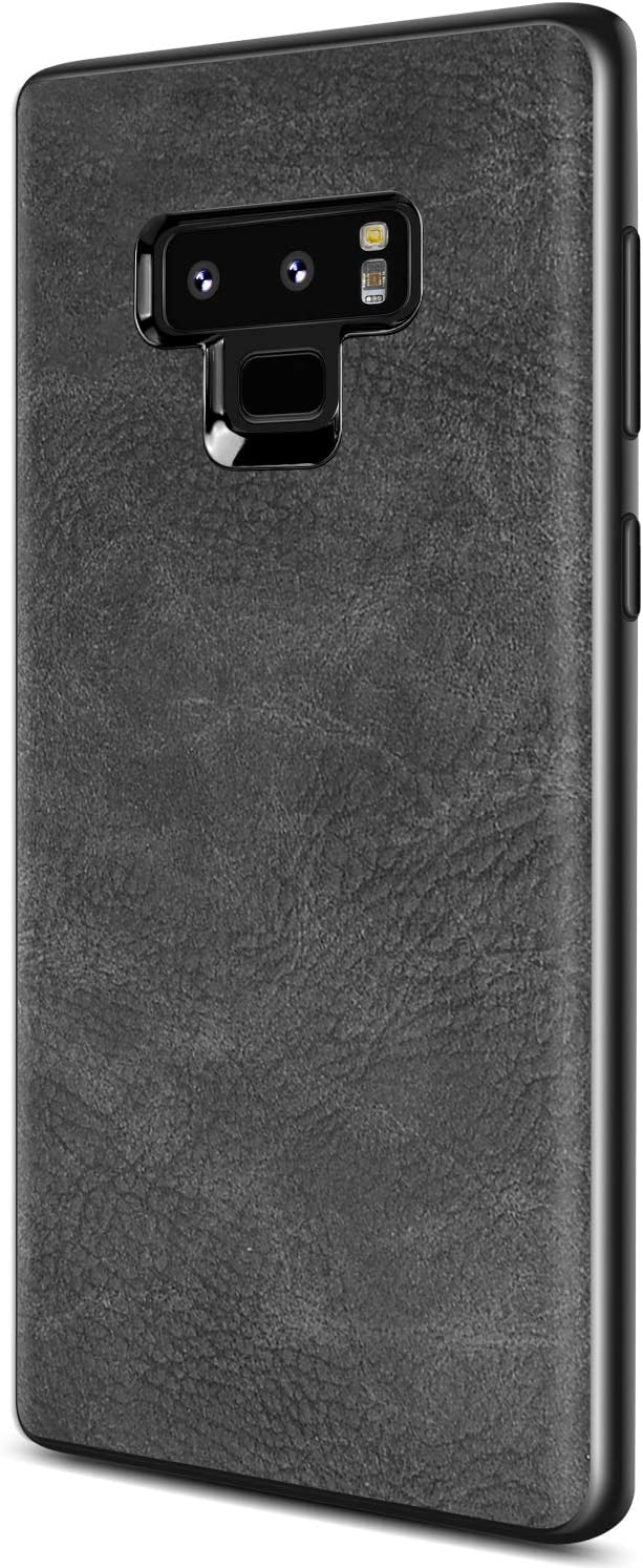 SALAWAT Samsung Galaxy Note 9 Case, Slim PU Leather Vintage Shockproof Phone Case Cover Lightweight Premium Soft TPU Bumper Hard PC Hybrid Protective Case for Samsung Galaxy Note 9 (Black)