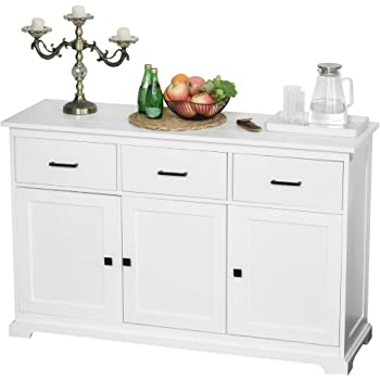HOMCOM Buffet Storage Cabinet for Kitchen Dining Room Entryway with 2 Cabinets and 3 Drawers Adjustable Shelves, White
