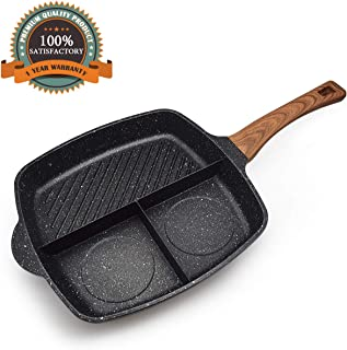 FRUITEAM Meal Skillet 3-in-1 Breakfast Pan Divided Skillet Grill Pan Stone & Ceramic Nonstick Frying Pan, 3 Section Divided Aluminum Cooker Pan, Induction Fry Pan, 1 Year Warranty