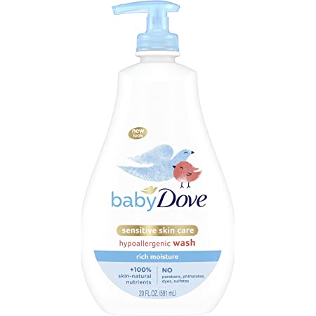 Baby Dove Sensitive Skin Care Baby Wash For Baby Bath Time Rich Moisture Tear-Free and Hypoallergenic 20 oz