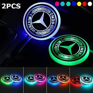 68 mm 68 mm ICESAR 2 Pezzi sottobicchieri con Cavo USB commutabili in 7 Colori Impermeabili Decorazione per Interni 2 tappetini per portabicchieri con Logo LED per Auto
