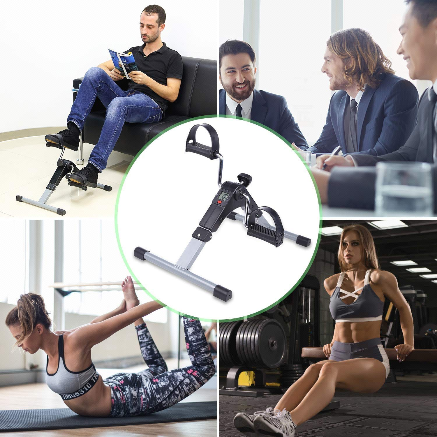 Jukkre Folding Mini Exercise Bike Portable Home Pedal Exerciser Gym Fitness Leg Arm Cardio Training Adjustable Resistance with LCD Display for Women and Men