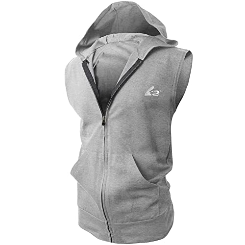 d48f31278bea BigRabbit reg  PAIZH Men s Sleeveless Workout Hoodie Zip-up Vests Gym  Bodybuilding Lifting Tank Tops