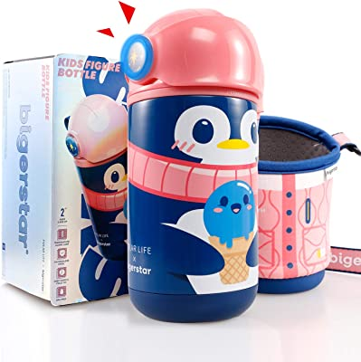 Arcwares Thermos Kids Water Bottles Leak Proof, 17 OZ Thermos Funtainer with LED Anti-scalding Reminder for Kids, Stainless Steel Insulated Thermal Water Bottle with Straw, Carry Straps and Cup Sleeve(Little Penguin)