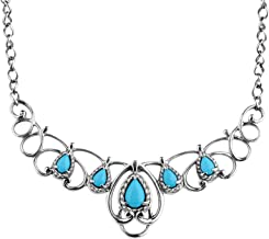 Carolyn Pollack Sterling Silver Sleeping Beauty Turquoise Gemstone Scroll Necklace