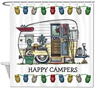 Mesllings Shower Curtains - Rv Happy Campers Polyester Fabric Bathroom Decor Set with Hooks - 48