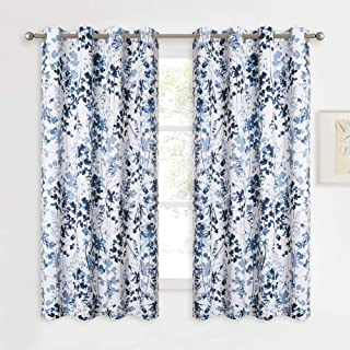 KGORGE Botanical Room Darkening Curtains - Natural Printed Patterned Thermal Draperies Grommet Curtain for Living Room Farmhouse Cabin Garden Bedroom Window Decor, 2 Pcs, W 52 x L 45, Blue
