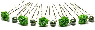 10 rosas y perlas horquillas - Joyas para el cabello - oro - Verde