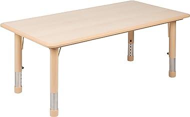 "Flash Furniture 23.625""W x 47.25""L Rectangular Natural Plastic Height Adjustable Activity Table"