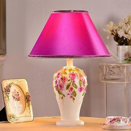 YJH+ テーブルランプ韓国コンチネンタルベッドルームベッドサイドガーデン調光ランプ 美しく寛大な ( 色 : A )
