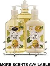 Liquid Soap & Lotion Kitchen Caddy: Tri Coastal Design Silver Wire Sink Basket Set - Citrus Mint Dish Soap, Hand Soap, and Lotion - 13.5 Fluid Ounces