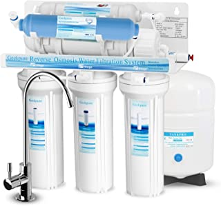 Geekpure 6-Stage Reverse Osmosis Drinking Water Filter System with DI Filter TDS to 0-75GPD