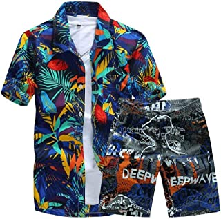 Men Relaxed-Fit Plus-Size Beach Thin Tracksuit Set
