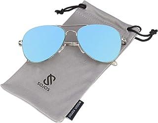 Sojos Aviator Sunglasses for Men - Blue Lens, SJ1030