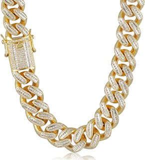 Hip Hop Mens 18mm White Gold/18K Gold Plated Full Iced Out Baguette Miami Cuban Link Chain Choker CZ Lab Diamond Necklace/Bracelet 8.5