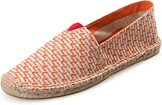 Loafer Shoes Women,Ethnic Style Canvas Hemp Insole Fisherman Flats Shoes