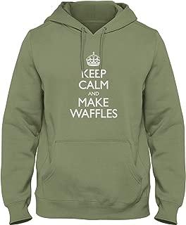 shirtloco Men's Keep Calm and Make Waffles Hoodie Sweatshirt