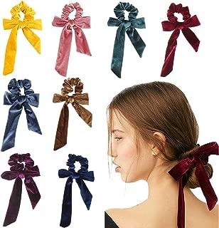 Makone 8PCS Velvet Hair Scrunchies Bowknot Elastics Hair Bands Scrunchy Hair Tie Rope Hair Scarfs Scrunchies Velvet Hair Bow Ponytail Holder Accessories for Women Girls