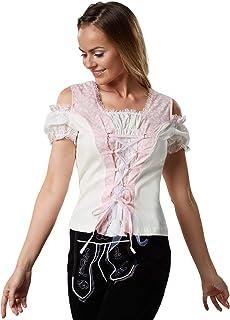 dressforfun dressforfun 900809 Trachtenbluse mit Carmen Ausschnitt, Schnürung, Kurzarm, weiß Creme rosa - Diverse Größen - S   Nr. 303180