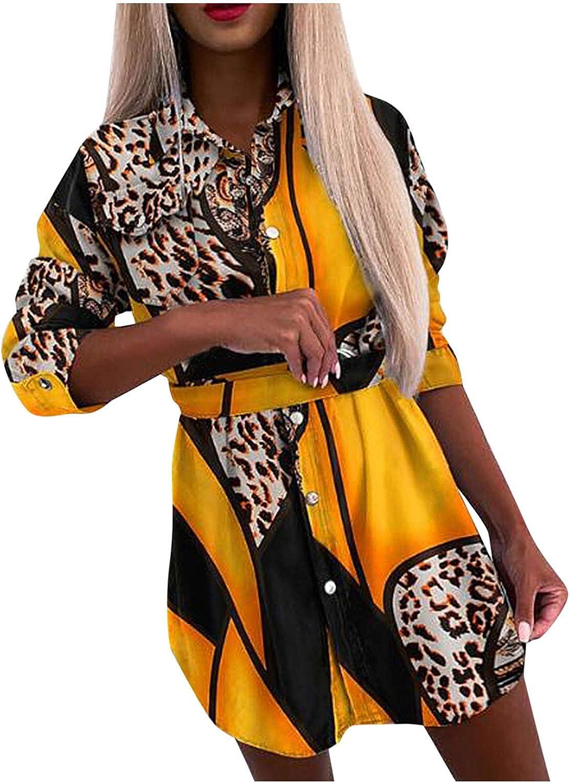 Gwewei4df Women's Sexy Long Sleeve Year-end annual account Dresses Casu Shirt High material Mini Print