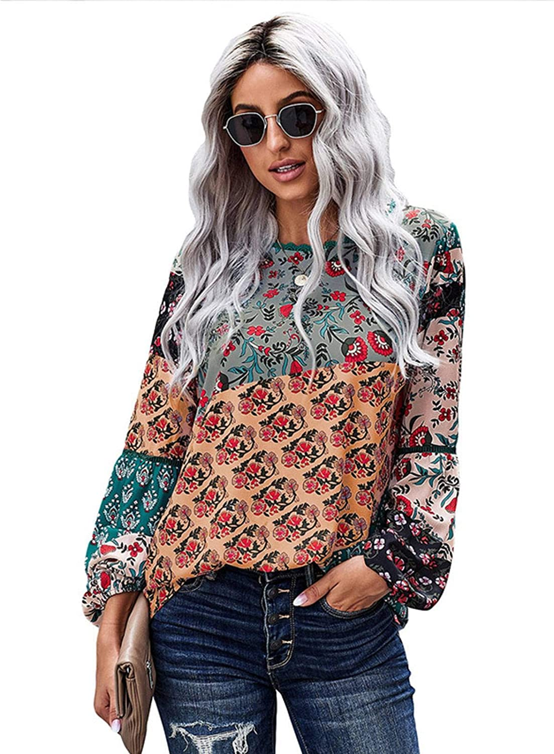 NC Womens Casual Lantern Long Sleeve Blouse Button Down Crew Neck Shirts Loose Blouses