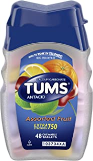 TUMS Antacid Chewable Tablets for Heartburn Relief, Extra Strength, Assorted Fruit, 48 Tablets