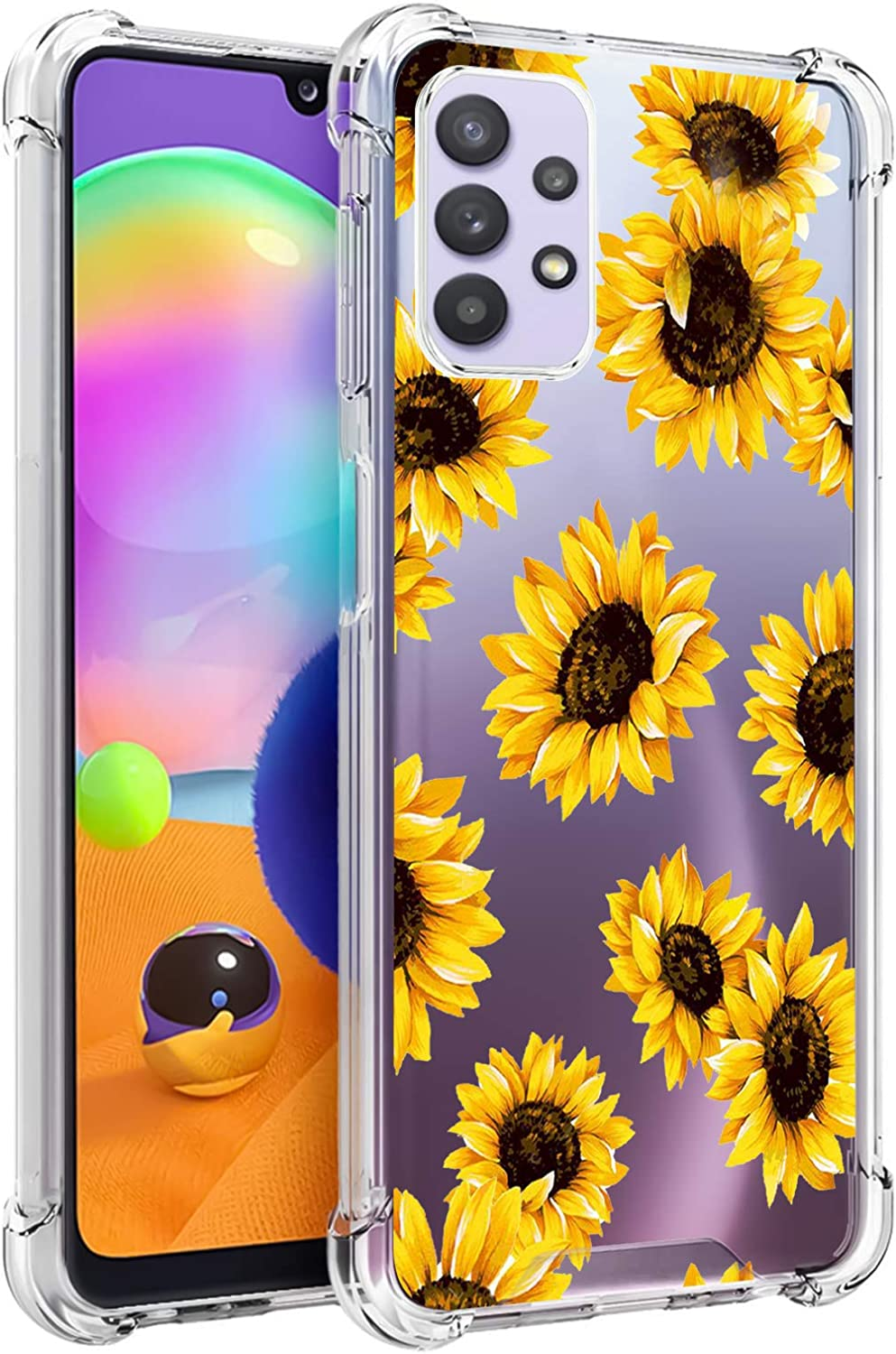 LSL Samsung Galaxy A32 5G Clear Case Sunflower Floral Cute Design Pattern Hard PC Back + Soft TPU Edges Full Body Protection Wireless Charging Cover for Galaxy A32 5G 6.5 Inch
