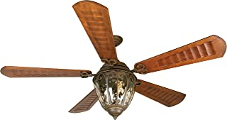 Craftmade K10338 Downrod Mount, 5 Scalloped Walnut Blades Ceiling fan with 21 watts light, Aged Bronze Textured