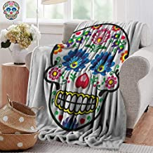 Gravity blanket,Sugar Skull,Polish Folkloric Art Style Mexican Sugar Skull Design Ethnic Carnival Theme, Multicolor,all seasons Anti-Static Couch Blanket Travelling Camping Blanket 60