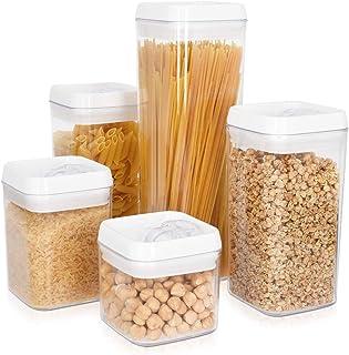Navaris Boîte de Rangement Cuisine - Lot de 5X boîte Alimentaire hermétique sans BPA avec Couvercle - Conservation Aliment...