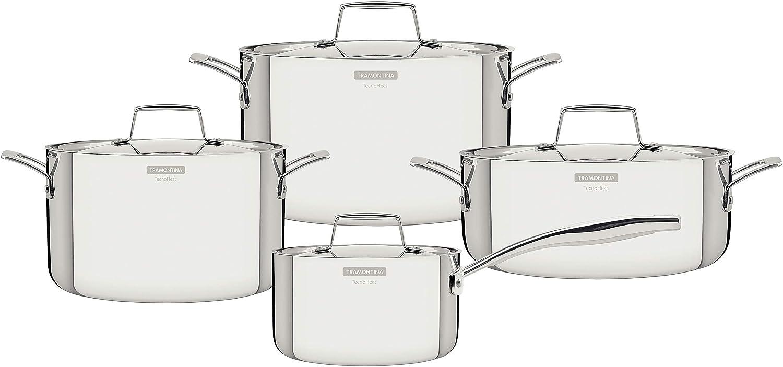 Tramontina Grano 65140/056 - Batería de cocina (4 piezas, acero inoxidable 18/10, 3 ollas, 1 cazo con mango, apto para todo tipo de fuegos)