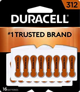 Duracell - Hearing Aid Batteries Size 312 (brown) - long lasting battery with EasyTab for ease of installation - 16 count
