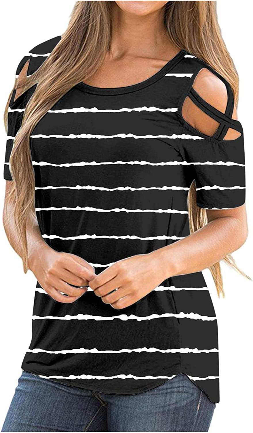 Smooto Womens Summer T-Shirts Short Sleeve Tunic Strappy Cold Shoulder Tops