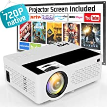 """$89 » Projector Native 720P, TMY 3800 Lux [100"""" Projector Screen Included] Video Projector Full HD 1080P Supported, Portable Mini Projector Compatible with HDMI USB VGA TF TV Stick DVD for Home Cinema."""