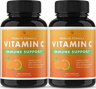 Nobi Vitamin C Capsules - 2000MG Vitamin C for Immune Support Immune Booster for Adults - 2 Pack - 120 Capsules