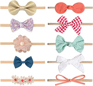 Baby Girl Headbands and Bows, Newborn Infant Toddler Nylon Hairbands Hair Accessories