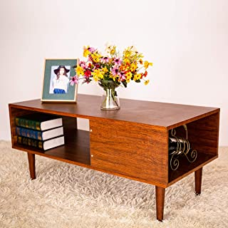GRAFZEAL Coffee Table, Mid-Century Retro Cocktail Table, Sofa Table with Storage Shelf Wood Furniture for Living Room, Easy Assembly, Rustic Brown KFZ02X