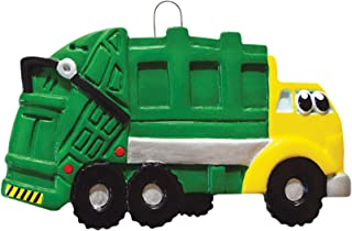 Personalized Garbage Truck Toy Christmas Tree Ornament 2019 - Yellow Green Mighty Toy Machine Eyes 3rd Grade Trash Collector Boy Monster Pixar Car Colossu XXL Kid Gift Year - Free Customization