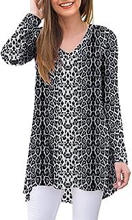 Sponsored Ad - AWULIFFAN Women's Fall Long Sleeve V-Neck T-Shirt Sleepwear Tunic Tops Blouse Shirts