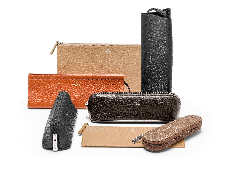 Faber-Castell - Estuche para portaminas (piel), color negro: Amazon.es: Oficina y papelería