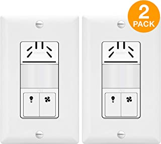 TOPGREENER Dual Tech Humidity Sensor Switch, Infrared PIR Motion & Air Moisture Detection, Bathroom Fan & Light Control, Adjustable Timing, NEUTRAL WIRE REQUIRED, UL Listed, TDHOS5-2PCS, White 2 Pack