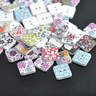 AKOAK 100 Piece Per Pack Mixed Color (30L=19.0MM) Flower Painted Pattern Square Two Hole Wooden Buttons for DIY Sewing Clothes Boots Coat Accessories Decorative Buttons