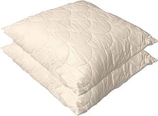 Espritzen - Lots de 2 Oreillers en coton qui respire - Taille : 65x65 cm - Blanc