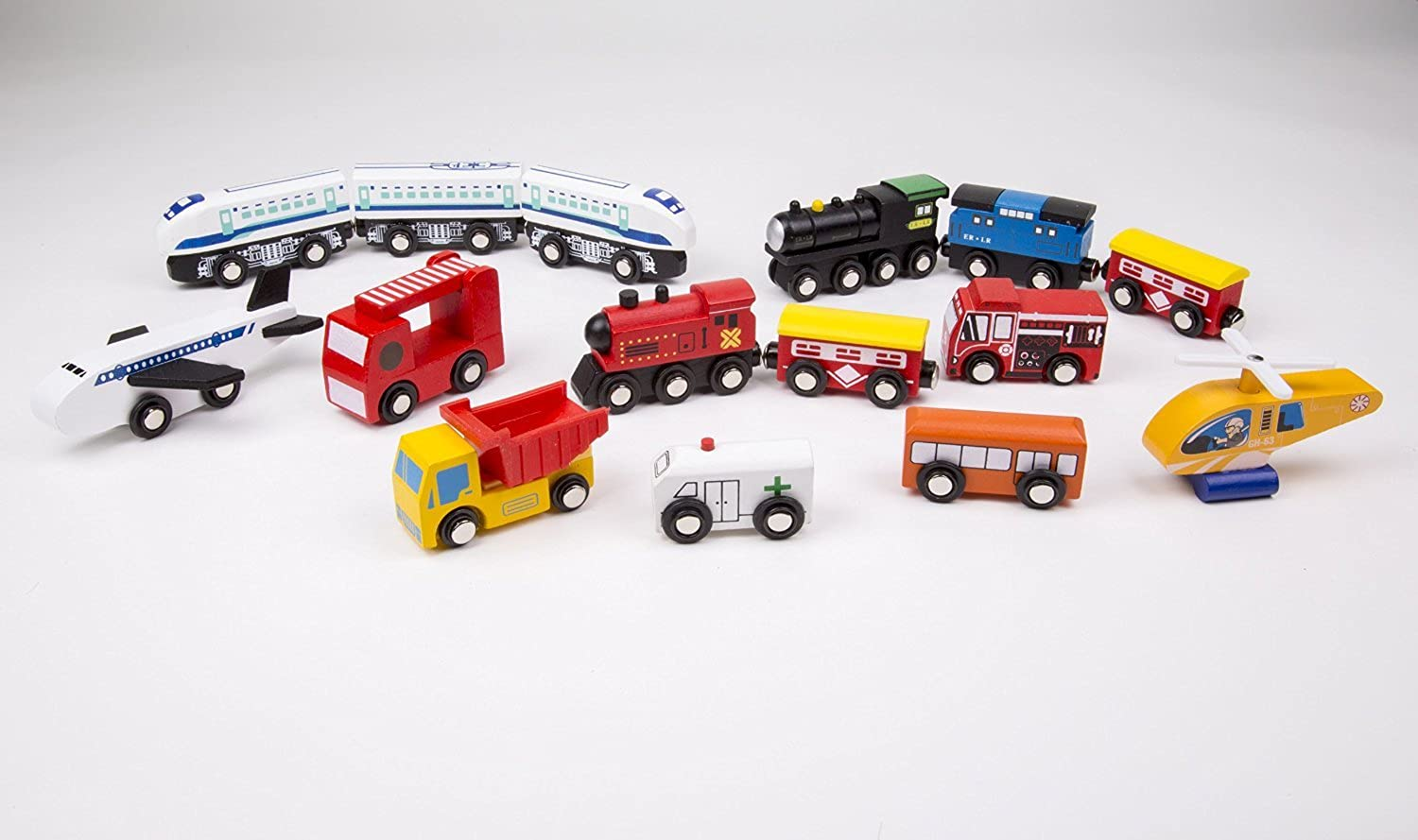 Wooden Train Car Set  15 Unique Vehicles And Engines Add Variety To Your Set  Compatible With Thomas, Brio, All Major Brands