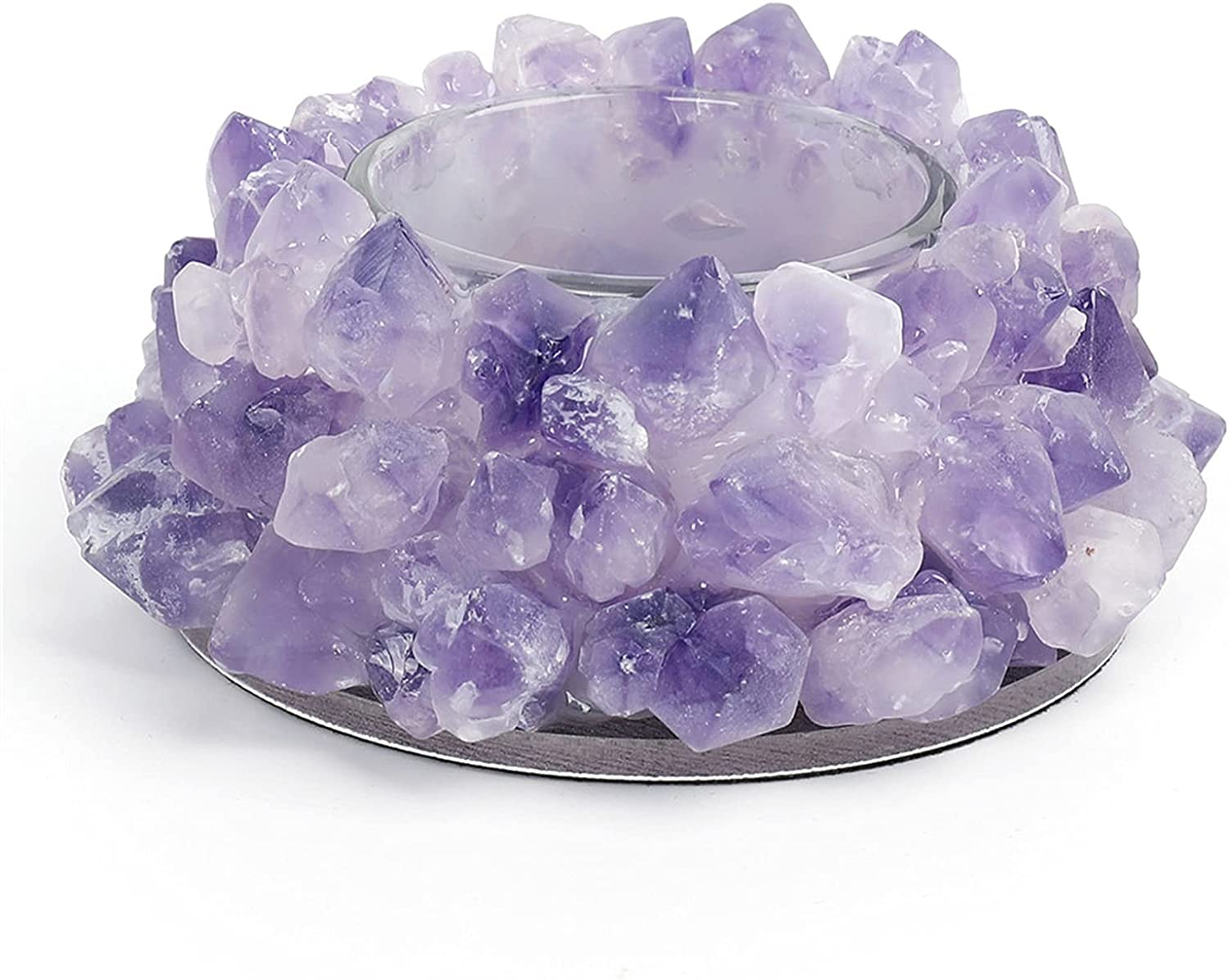 Sale special price MAXIAOTONG Nippon regular agency 1pcs Natural Amethyst Candlest Cluster Holders Candle