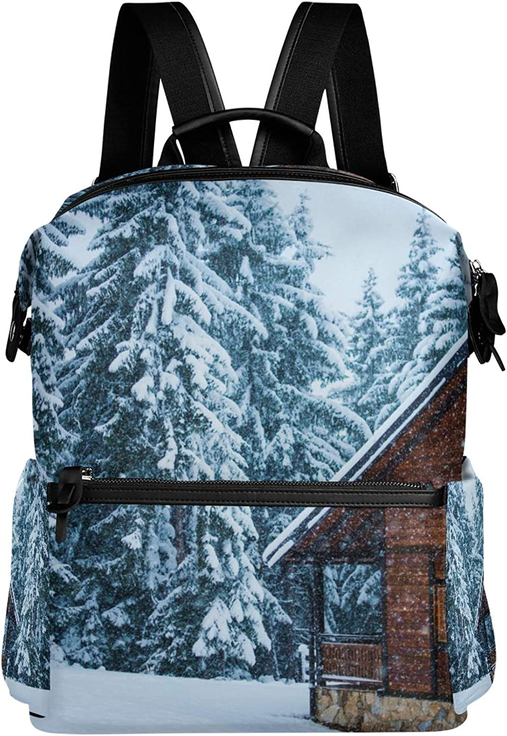 MONTOJ Winter Snowy Woodland Hut Leather Travel Bag Campus Backpack