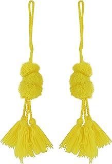 16K Polished Gold Plated over Brass cap Yellow Thread Tassel Yellow Cotton Tassel Tiny Cotton Tassel 2pcs  UT0110-PGYW