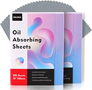JOLVKA Oil Absorbing Sheets Film 400 Sheets(2 packs of 200 Sheets), Oil Control Blotting Paper, Bamboo Charcoal, Gentle To...